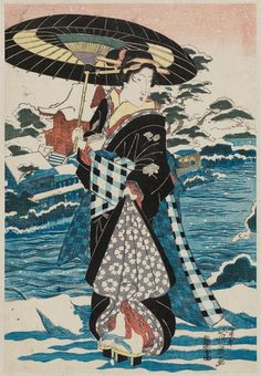 Keisai Eisen Title:Beauty in Snow with Umbrella