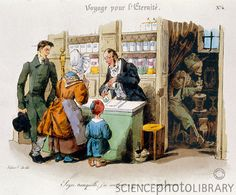 The apothecary tells the woman not to worry because his assistant never makes mistakes, unaware he has already poisoned himself (right). Apothecaries were the forerunners of pharmacists, mixing and prescribing medicinal drugs. 19th century French engraving.