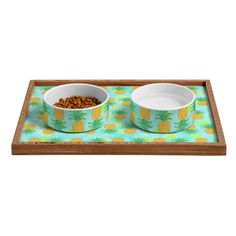 Lisa Argyropoulos Pineapples And Polka Dots Pet Bowl and Tray | DENY Designs Home Accessories