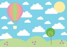 By Pepe Background Clipart, Clip Art, Blue Skies, Peppa Pig, Cute Illustration, Hot Air Balloon, Art Sketches, Balloons, Poster