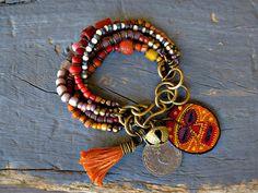 Rustic, Ethnic multi strand bracelet, Hippie, Boho, Gypsy bracelet, Bell, Coin Tribal bracelet, Trade bead,Tassel. layered bracelet.