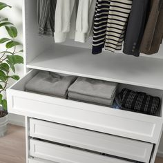KOMPLEMENT Drawer with framed front, white, 39 With this framed drawer you have more options to tailor your PAX wardrobe to better fit your style. Same storage capacity as the plain drawer, different look. Pax System, Drawer Fronts, Armoire Pax, Sock Organization, Wardrobe Solutions, Pax Wardrobe, Frames