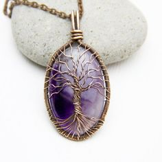Amethyst Necklace Tree-Of-Life Necklace Amethyst Pendant Copper Wire Wrapped Pendant Copper Jewelry Amulet Healing stones Family Tree JF06