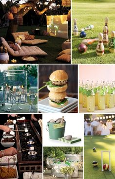 so many great ideas here but I adore outdoor movie night, law bowling & the s'more station
