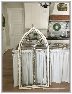 Making A Faux Cathedral Window - Faux Cathedral Arch Window-Cottage Style-Farmhouse Style-DIY- From My Front Porch To Yours - Arched Wall Decor, Window Frame Decor, Farmhouse Wall Decor, Country Decor, Farmhouse Style, Faux Window, Cathedral Windows, Arched Windows, Diy Furniture