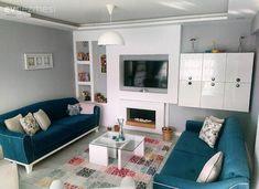 Gri, Halı, Mavi, Raf, Salon, Sehpa, Şömine, Tv ünitesi Sofa, Couch, Living Room Grey, Living Room Designs, Gallery Wall, Modern, Furniture, Decoration, Home Decor