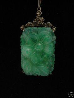 Deco Sterling Carved Apple Green Jade Peking Glass Marcasite Pendant Necklace   eBay