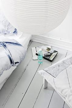 ♥ love the feel of this room. WHITE AND FLOORS PAINTED .SPA FEEL