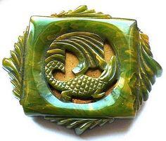 Huge, deeply carved, Bakelite Button