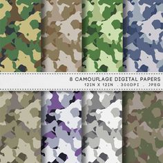 Camouflage Digital Paper Printable Paper Pack / Military Patterns by AzmariDigitals, £1.60