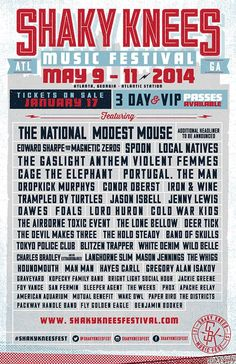 2014 Shaky Knees Music Festival Lineup today!
