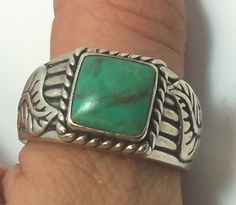 Vintage Carolyn Pollack, Relios Sterling Silver Turquoise Men's Ring Size 11