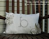 Monogrammed Lumbar Rosette Pillow - Rustic, simple, country  - cute for wedding (Ring bearer, anyone??!)