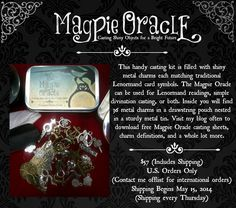 Magpie Oracle now available! Cast shiny objects for a bright future! http://carrieparis.com/shop/