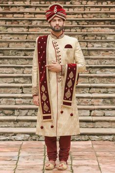 Traditional Indian jodhpuri sherwani collection online for wedding, sangeet and festive occasions. choose from latest designer shervani designs to buy sherwani online. Sherwani For Men Wedding, Wedding Dresses Men Indian, Party Wear Indian Dresses, Bridal Mehndi Dresses, Wedding Outfits For Groom, Groom Wedding Dress, Sherwani Groom, Mens Sherwani, Indian Bridal Outfits