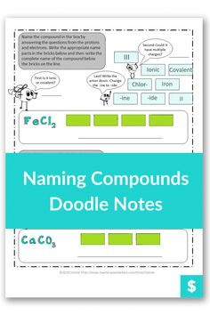 Do you need a fun worksheet to teach naming chemical compounds to your students? This doodle note set will have your high or middle school students engaged. Homeschool students also love it. Chemistry gets easy when you can draw it, color code it, and learn. # Namingchemicalcompounds High School Writing, High School Chemistry, Chemistry Teacher, Middle School, Chemistry Worksheets, Fun Worksheets, Teaching Science, Student Learning