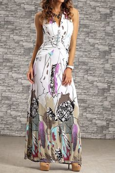 >>> In Stock & Free Delivery <<< bohemian-women-halter-backless-printed-long-dress