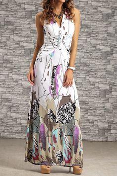 $11.72 Bohemian Women's Halter Backless Printed Long Dress
