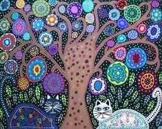 Kerri Ambrosino Art NEEDLEPOINT Mexican Folk Art  Tree of Life flowers Talavera Cats Black and white