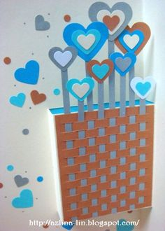 Lin Handmade Greetings Card: Weaving the blue and brown hearts pop up card