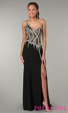 One Shoulder Black Gown JVN by Jovani  at PromGirl.com