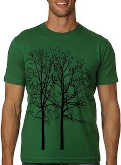 Cool Tree Tee MENS Graphic Tshirt Kelly Green by CritterJitters, $15.00