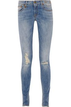 R13 distressed mid-rise skinny jeans   THE OUTNET #JeanDream