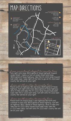 Austin Texas Custom Wedding Map Card w/ Directions