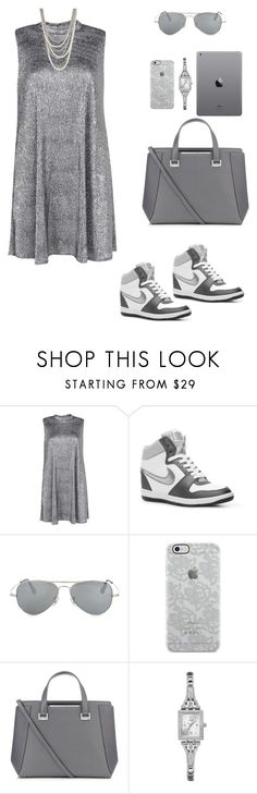 """""""S - Silver"""" by galia-ivanova ❤ liked on Polyvore featuring Boohoo, NIKE, Ray-Ban, Uncommon, Jimmy Choo, GUESS and Henri Bendel"""