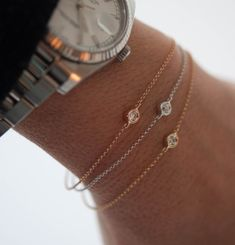 Diamond Bezel Bracelet. Your everyday bracelet in 18k solid gold by Vivien Frank Designs. #diamondbracelet