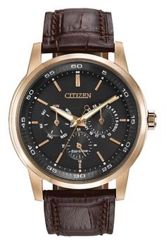 The Watch of the Day is a stylish CITIZEN Eco-Drive, at a stylish OFF! (Eco-Drive is fueled by light so it never needs a battery) Features a thick rose gold ion plated solid stainless steel case, water resistance & a crystal display. Citizen Eco, Global Citizen, Bling Bling, Cartier, Brown Leather Strap Watch, Luxury Watches, Stylish Watches, Casual Watches, Chronograph