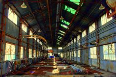 Urban Exploration Resource: Featuring Urban Exploration stories and a huge database of locations and pictures from a variety of abandoned buildings and other unique places. Abandoned Factory, Photography Sites, Urban Exploration, Abandoned Buildings, Display, Explore, Places, Floor Space, Billboard