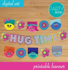 Trolls Hug Time Banner Birthday Party Decoration Show your