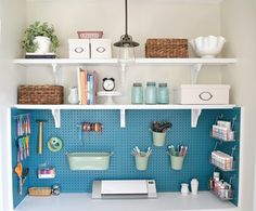 Craft room storage in a closet. So beautifully organized! Get things up off the desk. Would be great for the kids craft things. Love the painted pegboard for the utility/craft room. Space Crafts, Home Crafts, Home Projects, Craft Space, Family Crafts, Craft Room Storage, Room Organization, Closet Storage, Spare Room Storage Ideas