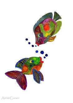 Colorful Fish Art Watercolor Painting Archival by ArtistiCorner