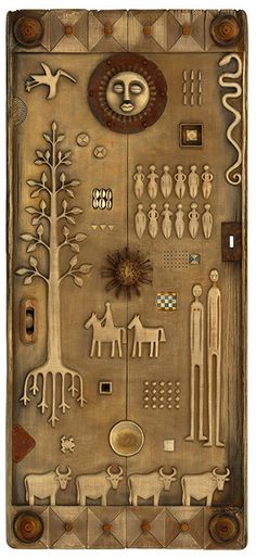 Tribal Story Door by Robyn Gordon Medium: Wood Carving Materials: Wood, Found Objects, Rusty Metal Dimensions: 140cm X 65 cm