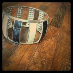 Bracelet double sided black, white, cz's Super cute, versatile bracelet. Great condition. Jewelry Bracelets
