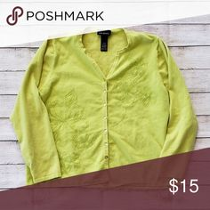 790aa54ebd2 Lane Bryant Cardigan Lime green Long sleeve Button down Embellished