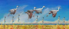 "Contemporary Artists of Colorado: Original Bird, Figurative,Landscape Whimsical Art Painting ""Remarkable Creatures"" by Colorado Artist Nancee Jean Busse"