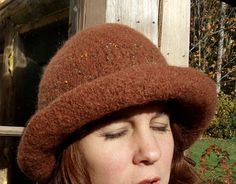 Felted Hat With Wide Rolled Brim Handknit by creationsbycorina, $45.00