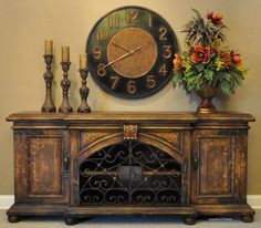 Our best selling dining room buffet, the Sonoma can easily be converted to a media cabinet. Wrought iron doors have hand forged lock and key. ❥ accentsofsalado.com