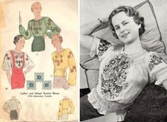 I feel that any vintage summer wardrobe ought not lack a peasant / gypsy blouse. I love them, and I now have four or five, both vintage and . 1930s Fashion, Retro Fashion, Vintage Fashion, Boho Fashion, Vintage Patterns, Vintage Sewing, Sewing Patterns, Dress Making Patterns, Vintage Glamour