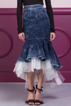 / calandra skirt / high waited with denim and tulle ruffled hemline / maria lucia hohan / Dress Outfits, Fashion Dresses, Dress Up, Denim Fashion, Womens Fashion, Merian, Jeans Rock, Denim And Lace, Western Outfits