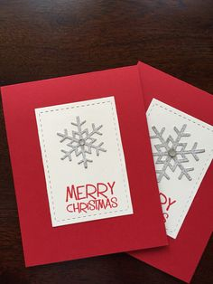 Quick Christmas cards using Lil Inker Designs Stitched Mats: rectangles, Stitched Snowflake Dies and MFT Wild Cherry cardstock