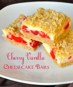 Cherry Vanilla Cheesecake Bars one of the most popular cookie bars we've ever featured on Rock Recipes, these delicious little treats have almost 50,000 pins on Pinterest alone.