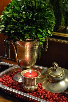 The Polohouse easy holiday decorating-cranberries, silver galley tray, boxwood
