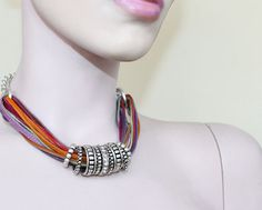 Statement Jewelry Multistrand Necklace Multicolored by Justlena