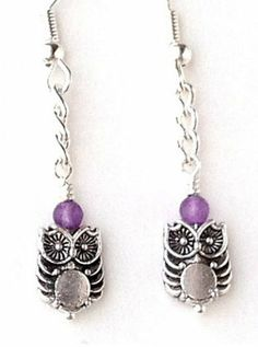 Pretty Owl Earrings with Purple Amethyst Bead and Chain. Suzanne