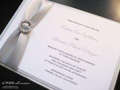 Silk Box Wedding Invitation, Crystal Buckles - Posh Silk Box Invitation- Brenna Catalano Design Studio