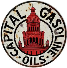 "Vintage Style "" Capital - Gasoline and Oils "" Advertising Metal Sign Vintage Antiques, Antique Cars, American Gas, Metal Board, Barrel Projects, Vintage Gas Pumps, Vintage Neon Signs, Old Gas Stations, Man Cave Signs"